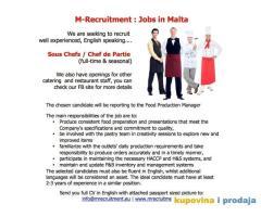 Potrebni konobari, barmeni i kuvari za rad na Malti